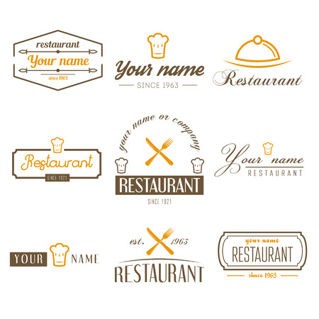 Set of logo and elements for restaurant, cafe and bar  イラスト・ベクター素材