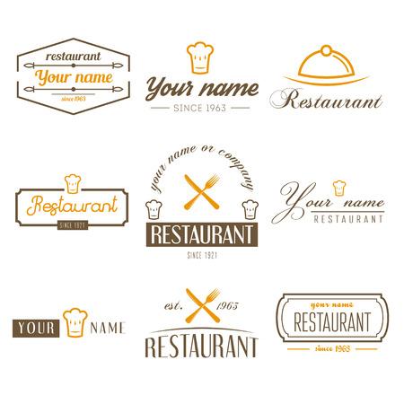 Set of logo and elements for restaurant, cafe and bar Illustration