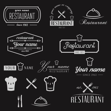 Set of logo and elements for restaurant, cafe and bar Ilustração