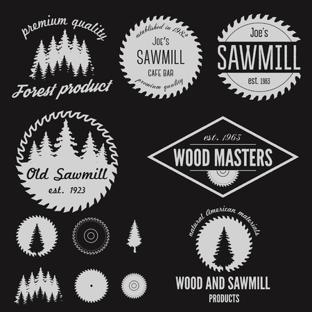 Set of logo and logotype elements for sawmill, carpentry and woodworkers Vettoriali