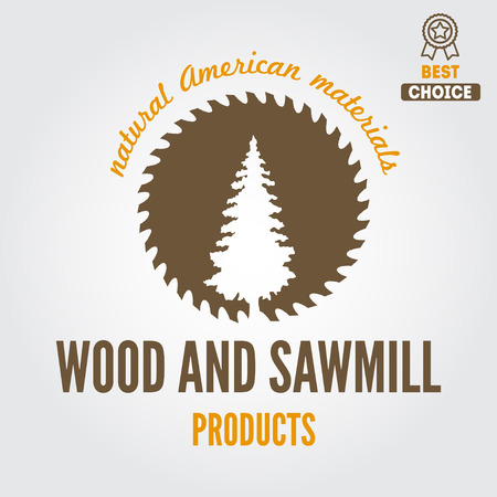 element for sawmill, carpentry and woodworkers Vettoriali