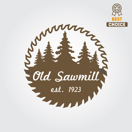 element for sawmill, carpentry and woodworkers Ilustracja