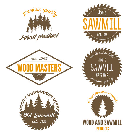 Set of logo and logotype elements for sawmill, carpentry and woodworkers Stock Illustratie