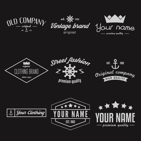 Different Vintage Insignias, logo or Logotype set