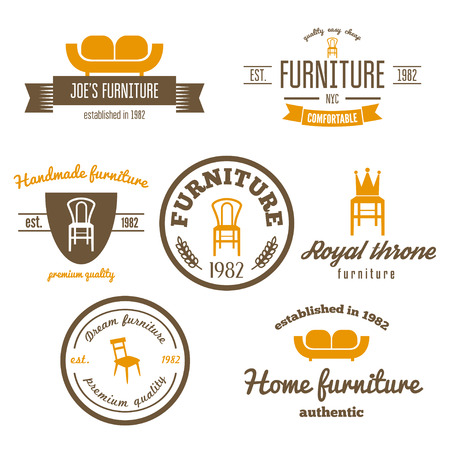 home furniture: Set of vintage elements for furniture shop Illustration