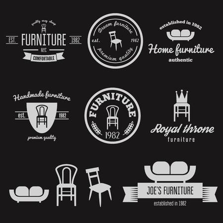 furniture shop: Set of vintage elements for furniture shop Illustration