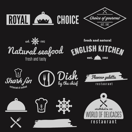 food banner: Set of elements for restaurant, cafe and bar Illustration