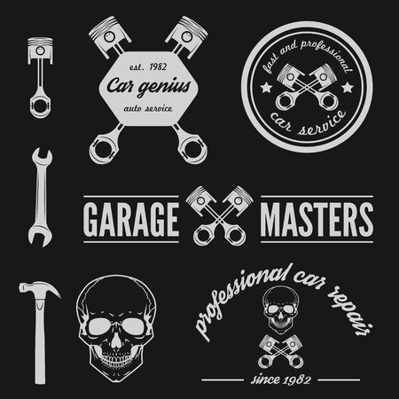garage: Set of logo and logotype element for mechanic, garage, car repair and auto service