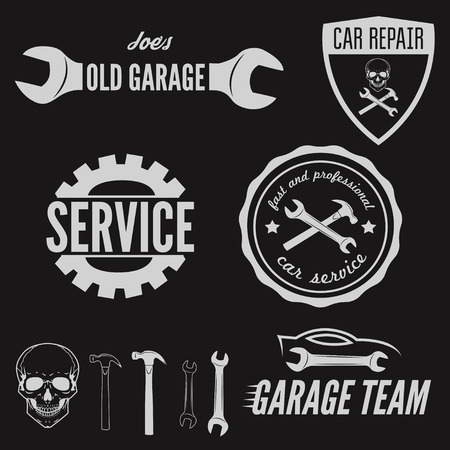 Set of element for mechanic, garage, car repair and auto service  イラスト・ベクター素材