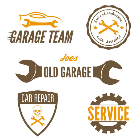 old cars: Set of element for mechanic, garage, car repair and auto service Illustration
