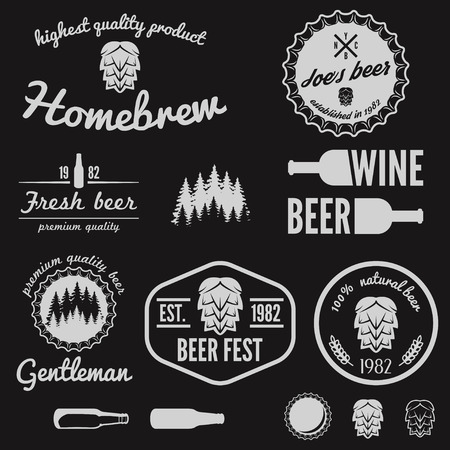 lager beer: Set of vintage elements for beer, beer shop, home brew, tavern, bar, cafe and restaurant