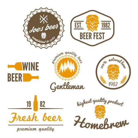 Set of vintage  elements for beer, beer shop, home brew, tavern, bar, cafe and restaurant Stock Illustratie