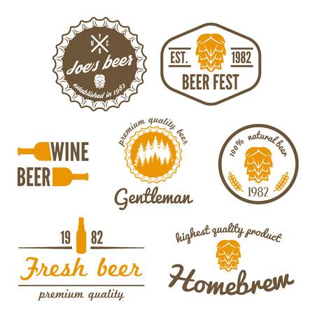 brew: Set of vintage  elements for beer, beer shop, home brew, tavern, bar, cafe and restaurant Illustration