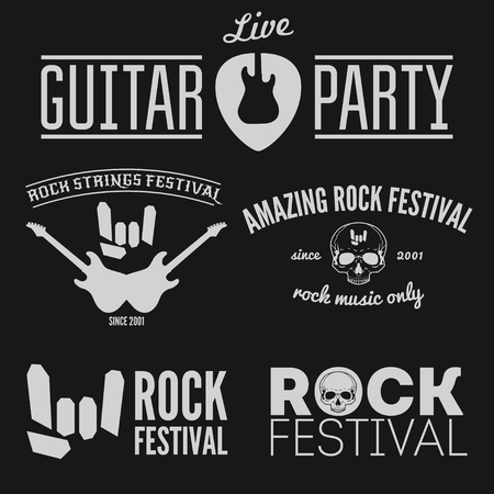 Set of vintage elements for musical performance, rock festival or guitar party