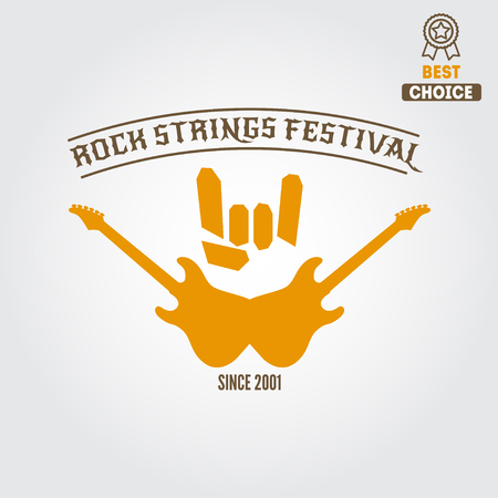 rock logo: Set of vintage logo or logotype elements for rock festival, musical performance or guitar party