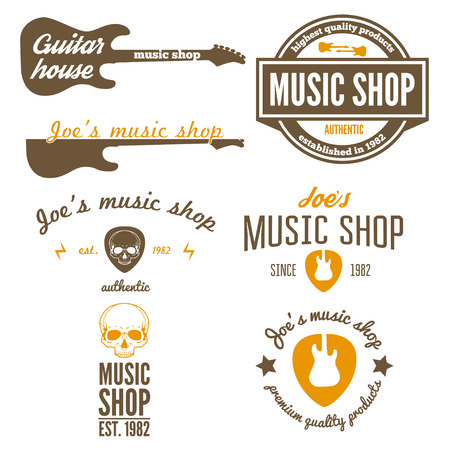 guitarra acustica: Conjunto de elementos de la vendimia para la tienda de música, tienda de guitarras