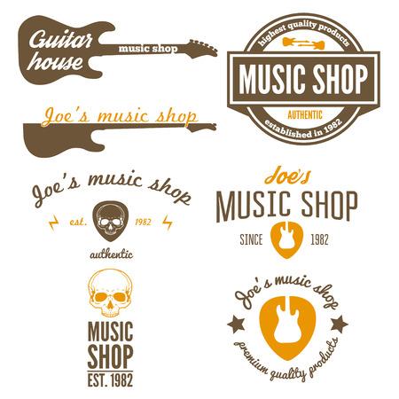 Set of vintage elements for music shop, guitar shop Illustration