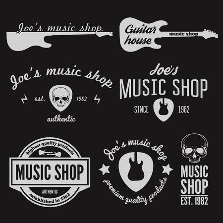 gitara: Zestaw starych elementów do sklepu muzycznego, sklep gitara Ilustracja