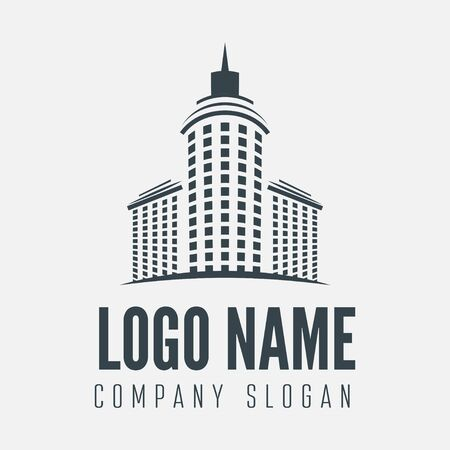Logo or logotype element with building for business, corporation or web