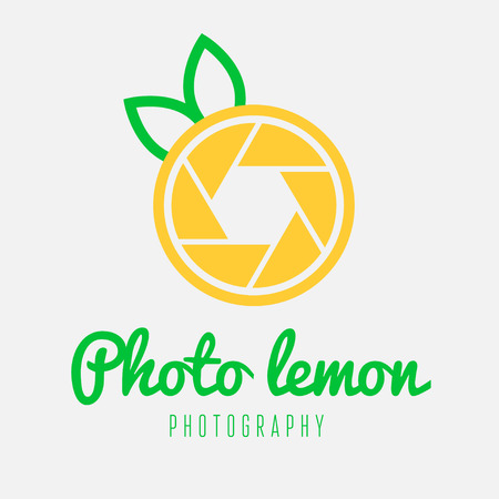 Creative logo or logotype element with shutter and lemon for business, corporation or web Vector