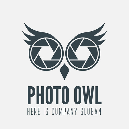 film camera: element with owl and shutter for business, photographer, studio, corporation or web