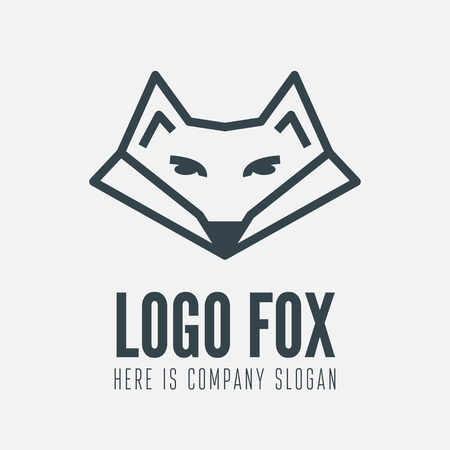 fox face: element with fox for business, ecology, corporation or web