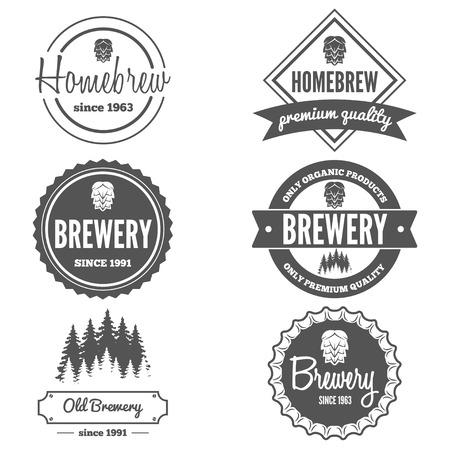 Sada vintage logo či logotyp prvků pro piva, pivní obchod, domácí pivo, taverna, bar, kavárna a restaurace
