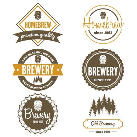 logos restaurantes: Conjunto de logo o logotipo elementos vintage para la cerveza, tienda de cerveza, cerveza casera, taberna, bar, cafeter�a y restaurante Vectores