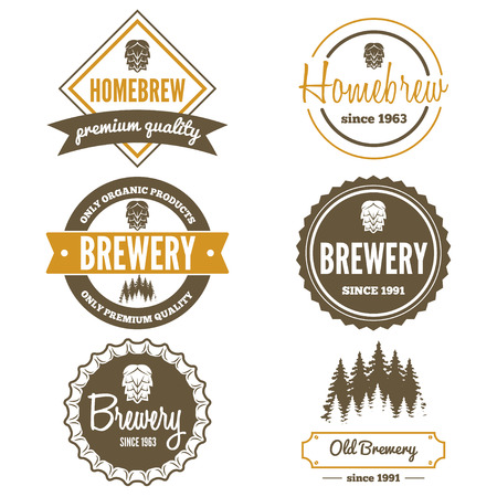 banner craft: Set of vintage logo or logotype elements for beer, beer shop, home brew, tavern, bar, cafe and restaurant