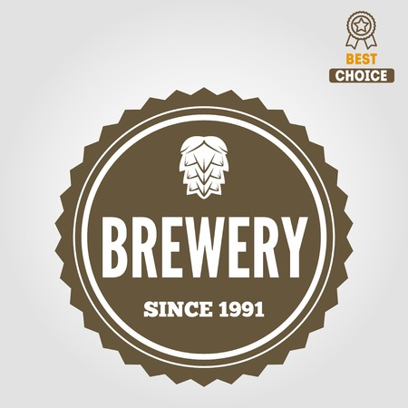 brew: Set of vintage logo or logotype elements for beer, beer shop, home brew, tavern, bar, cafe and restaurant