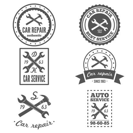 Set of vintage mechanic labels, emblems and logo. Vector