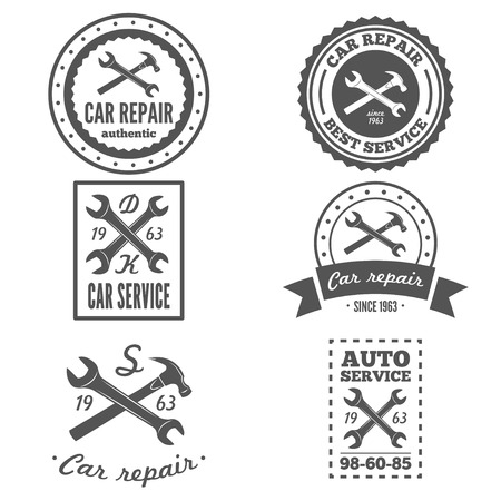 wheel change: Set of vintage mechanic labels, emblems and logo. Vector