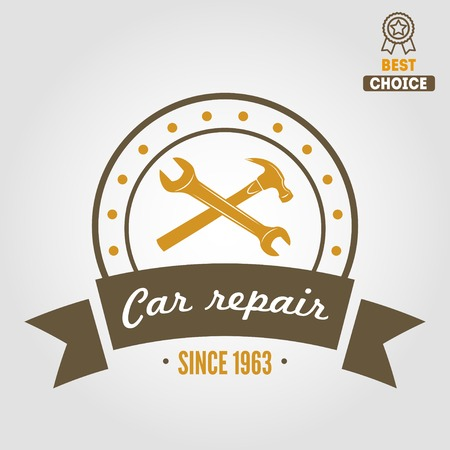 wheel change: Vintage mechanic labels, emblems and logo. Vector