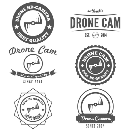 flight: Set of logo, label or logotype for drone and flying camera Illustration