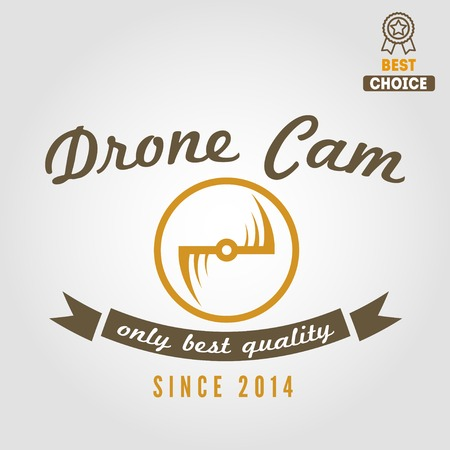 unmanned: Logo, emblem or logotype for drone and flying camera