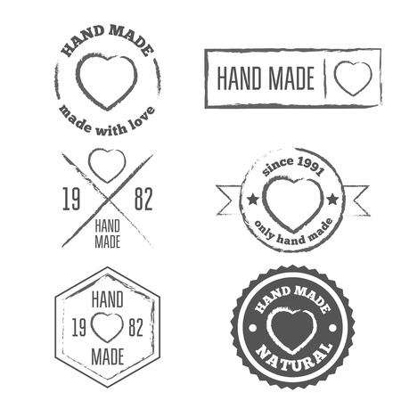 handmade: Set of vintage retro handmade badges, labels and logo elements