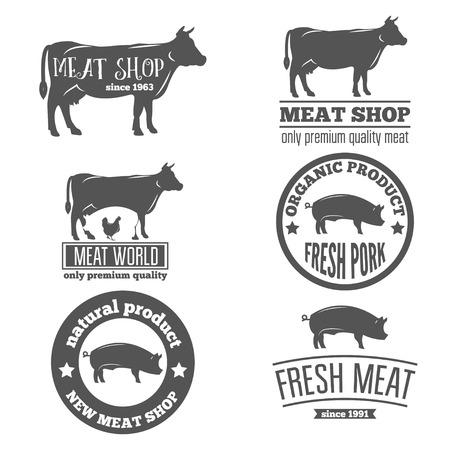 cerdos: Conjunto de etiquetas de vntage plantillas de carnicer�a carnicer�a