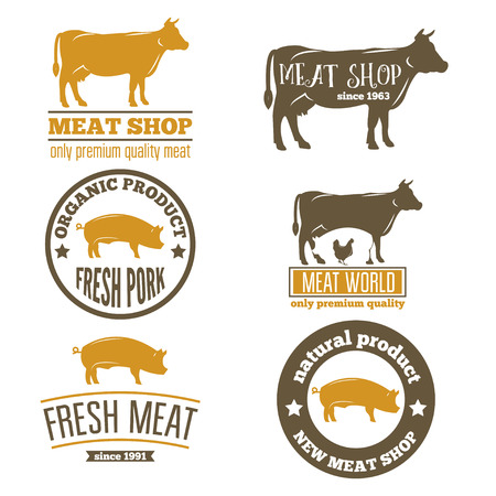 Set of vntage labels templates of butchery meat shop Stock Illustratie