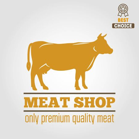 Vintage labels, emblem templates of butchery meat shop Illustration