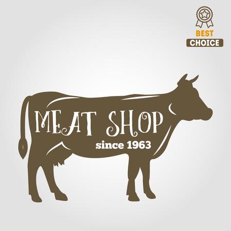 raw material: Vintage labels, emblem templates of butchery meat shop Illustration