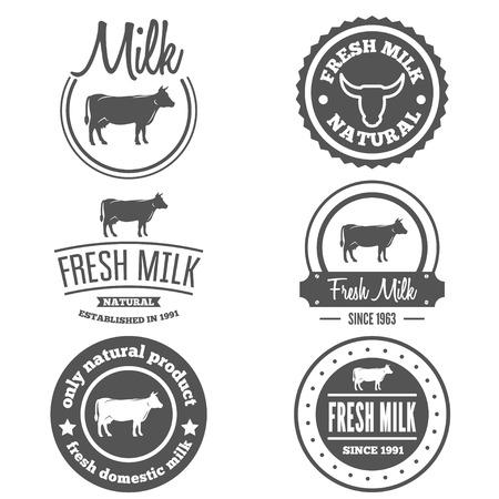 latte fresco: Collezione di etichette d'epoca, logo, modelli emblema di latte