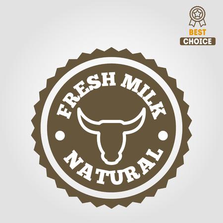 Vintage label, emblem template of milk on background