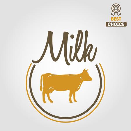 skim: Vintage label, emblem template of milk on background