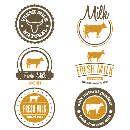 food packaging: Collection of vintage labels, logo, emblem templates of milk