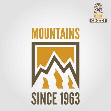 summit: Vintage logo or logotype elements with mountains