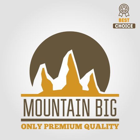 ice climbing: Vintage logo or logotype elements with mountains