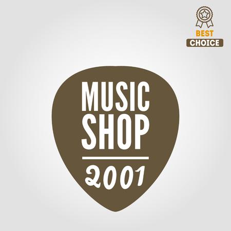 logo music: Vintage logo or logotype elements for music shop, guitar shop