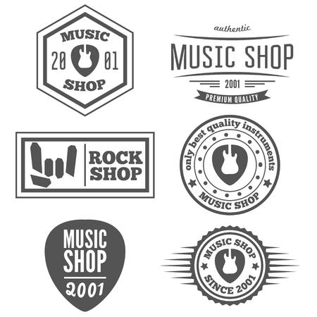 iconos de m�sica: Conjunto de logo o logotipo elementos de la vendimia para la tienda de m�sica, tienda de guitarras Vectores