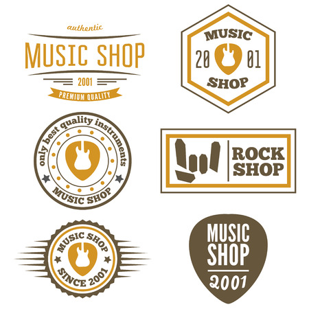 print shop: Set of vintage logo or logotype elements for music shop, guitar shop Illustration