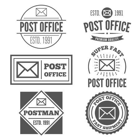 post office: Set of vintage logo or logotype elements for post office or other design